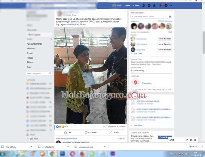 [Cek Fakta] Nenek Bawa Surat Undangan Kenduri ke TPS di Bojonegoro