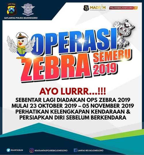 Tingkatkan Disiplin Lalin, Satlantas Polres Bojonegoro Gelar Operasi Zebra