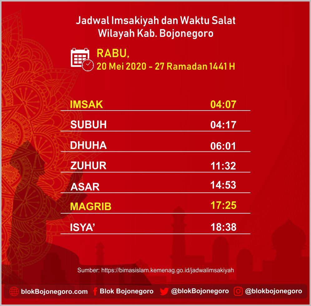 Jadwal Imsakiyah Bojonegoro, Rabu 20 Mei 20