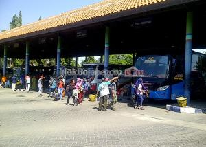 Warga Mencari Bus di Terminal Rajekwesi